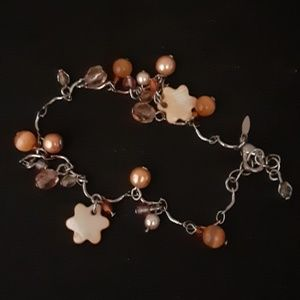 Ankle Bracelet Avon Bead Mother of Pearl Vintage